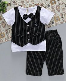 Hao Hao Suit Style T-Shirt & Pant Set - White & Black