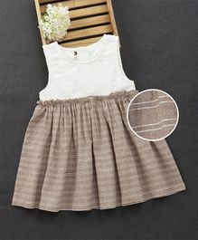 Fashion Baby Flower Design Dress - Brown