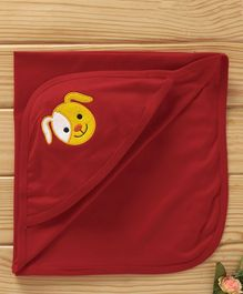 Simply Hooded Cotton Wrapper Animal Face Patch - Coral