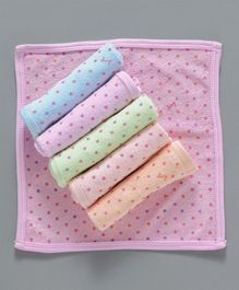 Simply Hand & Face Towel Dots Print Pack Of 6 - Pink Orange Blue Green