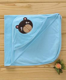 Simply Hooded Cotton Towel Bear Patch - Light Blue