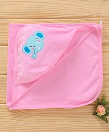 Simply Hooded Cotton Towel Elephant Patch - Pink