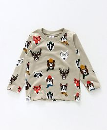 Ollypop Full Sleeves T-Shirt Puppy Print - Light Beige
