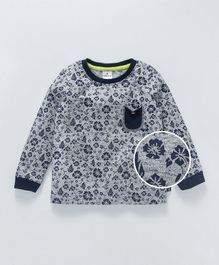 Ollypop Full Sleeves Tee Floral Print - Grey Black