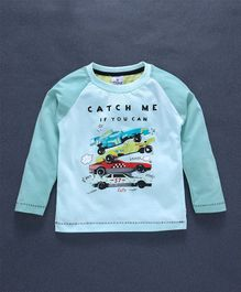 Ollypop Full Sleeves T-Shirt Cars Print - Green