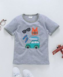 Gold Treasure Car Applique Tee - Grey