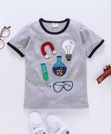 Dragon Baby Experiment Tools Applique Tee - Grey