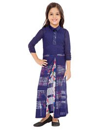 Tiny Baby Long Tunic & Printed Leggings Set - Navy Blue