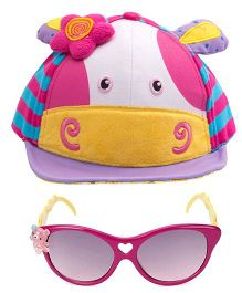 Kidofash Cow Face Cap & Sunglasses Combo - Purple