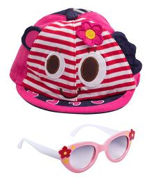 Kidofash Stripes Face Print Cap & Flower Sunglasses Combo - Pink
