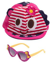 Kidofash Stripes Face Print Cap & Bow Sunglasses Combo - Purple