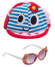 Kidofash Stripes Face Print Cap & Round Bow Sunglasses Combo - Red