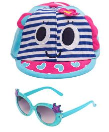 Kidofash Stripes Face Print Cap & Crown Sunglasses Combo - Blue