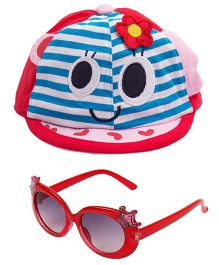 Kidofash Stripes Face Print Cap & Crown Sunglasses Combo - Red