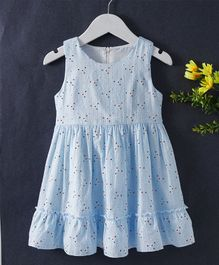 Huali Kids Small Flower Design Dress - Blue