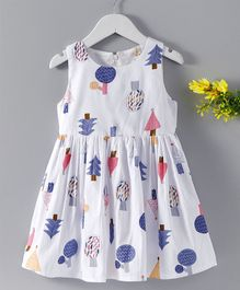 Huali Kids Trees Print Dress - Blue