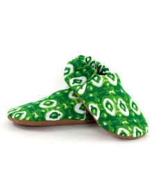 Skips Handcrafted Printed Booties - Green