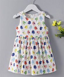 Huali Kids Bird Print Dress - White