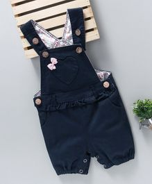Happiness Heart Applique Dungaree - Navy