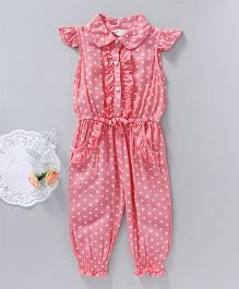 Happiness Polka Dot Print Jumpsuit - Pink
