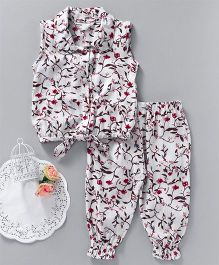 Happiness Flower Printed Top & Pant Set - White