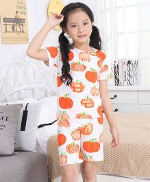 Pre Order - Awabox Pumpkin Print Nightwear Set - Orange