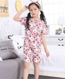 Pre Order - Awabox Rabbit Print Nightwear Set - Pink