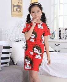Pre Order - Awabox Girl Printed Nightwear Set - Red