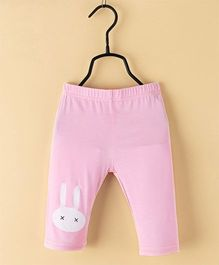 Pre Order - Awabox Rabbit Face Print Leggings - Pink