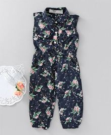 Happiness Flower Print Sleeveless Jumpsuit - Blue