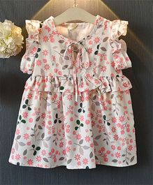 Pre Order - Awabox Floral Frilly Dress - White