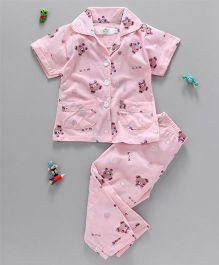 Three Grasses Teddy Print Night Suit - Pink