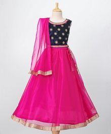 Babyoye Velvet Choli With Lehenga & Dupatta Sequin Work - Navy Pink