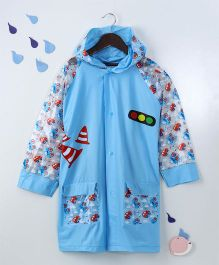 Full Sleeves Hooded Raincoat Car Print - Blue