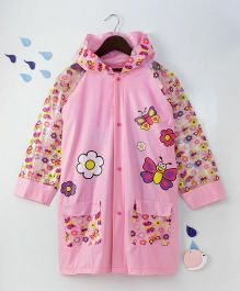 Full Sleeves Hooded Raincoat Floral Print - Pink