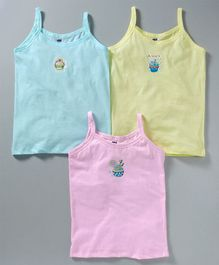 Simpy Singlet Slips Cupcake Print Pack of 3 - Aqua Yellow Pink