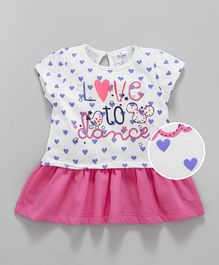 Simply Short Sleeves Frock Love To Dance Print - Pink White