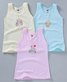 Simply Sleeveless Slips Sheep & Floral Print Pack of 3 - Pink Blue Light Yellow