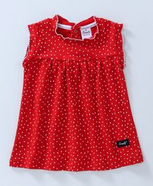 Simply Sleeveless Frock Polka Print - Red