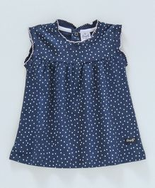 Simply Sleeveless Frock Polka Print - Blue