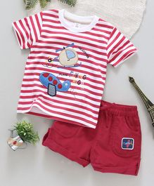 ToffyHouse Half Sleeves Stripe Tee And Corduroy Shorts Aeroplane Patch - White Red