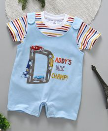 ToffyHouse Half Sleeves Dungaree Style Romper With Stripes Printed Inner Top - Light Blue