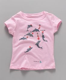 Doreme Short Sleeves Tee Dolphin Print - Pink