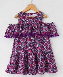 Soul Fairy Cold Shoulder Floral Dress - Purple