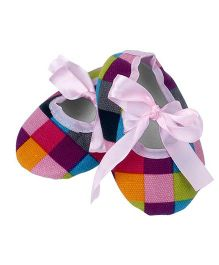 Dazzling Dolls Checks Print Booties - Multicolor