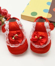 Dazzling Dolls Lace Design Booties - Red