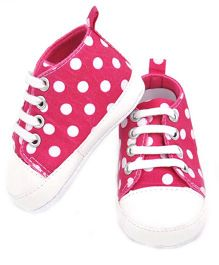 Dazzling Dolls Polka Dot Booties With Lace Closure - Pink