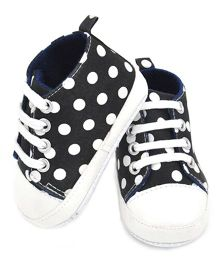 Dazzling Dolls Polka Dot Booties With Lace Closure - Black