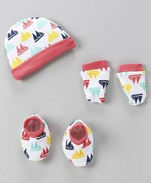 Babyhug Cap And Mittens With Booties Boat Print - Pink & White