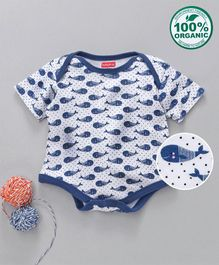 Babyhug Half Sleeves Organic Cotton Onesie Whale Print - Blue White